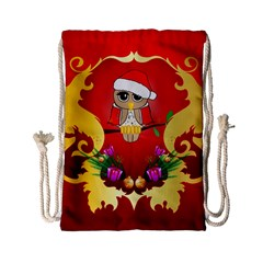 Funny, Cute Christmas Owl  With Christmas Hat Drawstring Bag (Small)