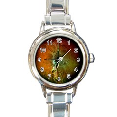 Beautiful Abstract Floral Design Round Italian Charm Watches