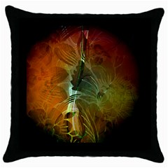 Beautiful Abstract Floral Design Throw Pillow Cases (Black)