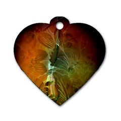 Beautiful Abstract Floral Design Dog Tag Heart (Two Sides)