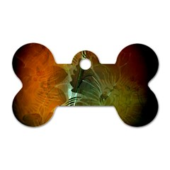Beautiful Abstract Floral Design Dog Tag Bone (One Side)