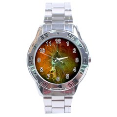 Beautiful Abstract Floral Design Stainless Steel Men s Watch