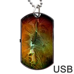 Beautiful Abstract Floral Design Dog Tag Usb Flash (two Sides)
