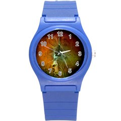 Beautiful Abstract Floral Design Round Plastic Sport Watch (S)