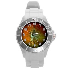 Beautiful Abstract Floral Design Round Plastic Sport Watch (L)
