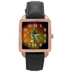 Beautiful Abstract Floral Design Rose Gold Watches