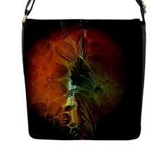 Beautiful Abstract Floral Design Flap Messenger Bag (L)
