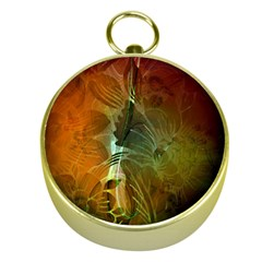 Beautiful Abstract Floral Design Gold Compasses