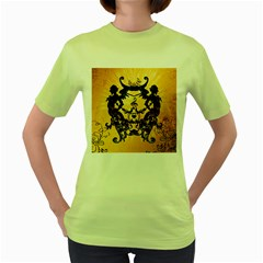 Clef With Awesome Figurative And Floral Elements Women s Green T-Shirt