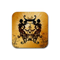 Clef With Awesome Figurative And Floral Elements Rubber Square Coaster (4 pack)