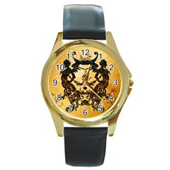 Clef With Awesome Figurative And Floral Elements Round Gold Metal Watches