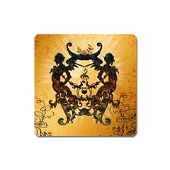 Clef With Awesome Figurative And Floral Elements Square Magnet