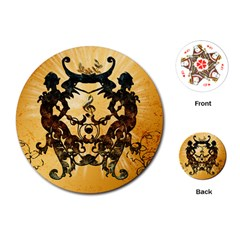 Clef With Awesome Figurative And Floral Elements Playing Cards (Round)