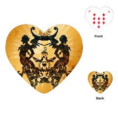 Clef With Awesome Figurative And Floral Elements Playing Cards (heart)