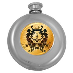 Clef With Awesome Figurative And Floral Elements Round Hip Flask (5 oz)