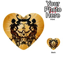 Clef With Awesome Figurative And Floral Elements Multi-purpose Cards (Heart)