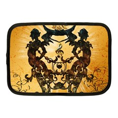 Clef With Awesome Figurative And Floral Elements Netbook Case (Medium)