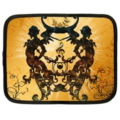 Clef With Awesome Figurative And Floral Elements Netbook Case (Large)