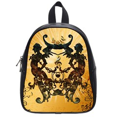 Clef With Awesome Figurative And Floral Elements School Bags (Small)