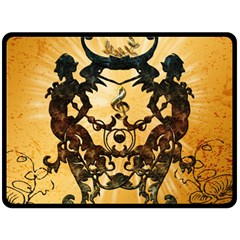 Clef With Awesome Figurative And Floral Elements Fleece Blanket (Large)