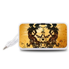 Clef With Awesome Figurative And Floral Elements Portable Speaker (white)