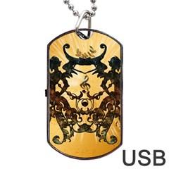 Clef With Awesome Figurative And Floral Elements Dog Tag USB Flash (One Side)
