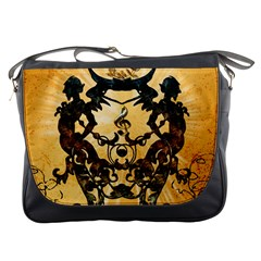 Clef With Awesome Figurative And Floral Elements Messenger Bags