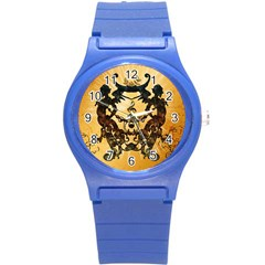 Clef With Awesome Figurative And Floral Elements Round Plastic Sport Watch (S)