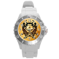 Clef With Awesome Figurative And Floral Elements Round Plastic Sport Watch (L)