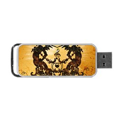 Clef With Awesome Figurative And Floral Elements Portable USB Flash (One Side)