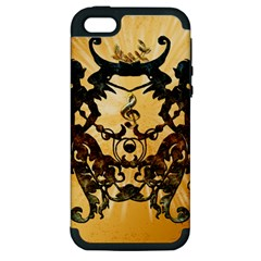 Clef With Awesome Figurative And Floral Elements Apple iPhone 5 Hardshell Case (PC+Silicone)