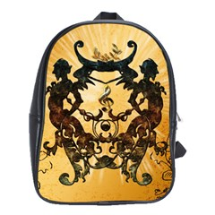 Clef With Awesome Figurative And Floral Elements School Bags (XL)