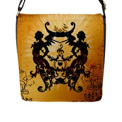 Clef With Awesome Figurative And Floral Elements Flap Messenger Bag (L)