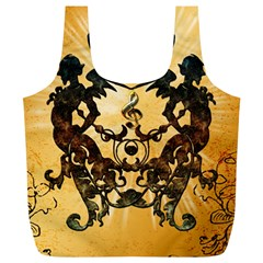 Clef With Awesome Figurative And Floral Elements Full Print Recycle Bags (L)