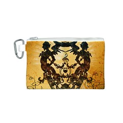 Clef With Awesome Figurative And Floral Elements Canvas Cosmetic Bag (S)