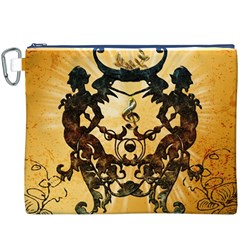 Clef With Awesome Figurative And Floral Elements Canvas Cosmetic Bag (XXXL)