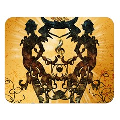Clef With Awesome Figurative And Floral Elements Double Sided Flano Blanket (large)