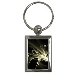 Awesome Glowing Lines With Beautiful Butterflies On Black Background Key Chains (Rectangle)