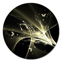 Awesome Glowing Lines With Beautiful Butterflies On Black Background Magnet 5  (Round)