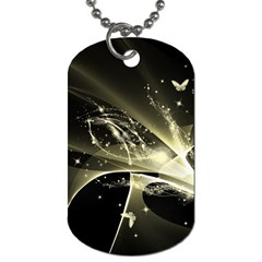 Awesome Glowing Lines With Beautiful Butterflies On Black Background Dog Tag (Two Sides)