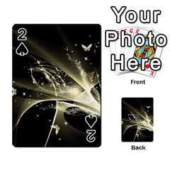 Awesome Glowing Lines With Beautiful Butterflies On Black Background Playing Cards 54 Designs
