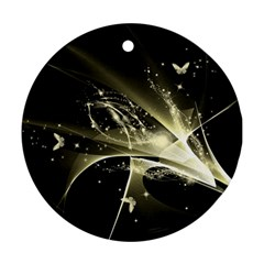 Awesome Glowing Lines With Beautiful Butterflies On Black Background Round Ornament (Two Sides)