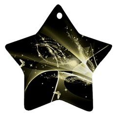 Awesome Glowing Lines With Beautiful Butterflies On Black Background Star Ornament (Two Sides)