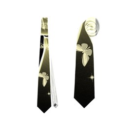 Awesome Glowing Lines With Beautiful Butterflies On Black Background Neckties (one Side)