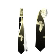 Awesome Glowing Lines With Beautiful Butterflies On Black Background Neckties (Two Side)