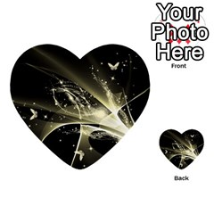 Awesome Glowing Lines With Beautiful Butterflies On Black Background Multi Purpose Cards (heart)