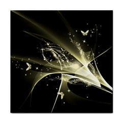 Awesome Glowing Lines With Beautiful Butterflies On Black Background Face Towel