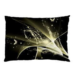 Awesome Glowing Lines With Beautiful Butterflies On Black Background Pillow Cases