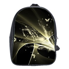 Awesome Glowing Lines With Beautiful Butterflies On Black Background School Bags(Large)