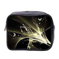 Awesome Glowing Lines With Beautiful Butterflies On Black Background Mini Toiletries Bag 2-Side